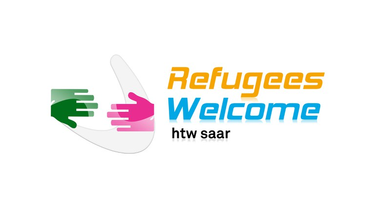 logo refugees welcome htw saar